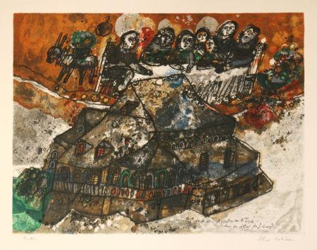 Litografía Tobiasse - Assemblee Des Rabbins Et Notables Au Lgime Dans Un Village De Lithuanie