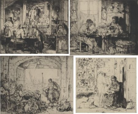 Grabado Brouet - (Assorted occupations:  a collection of ten original etchings)