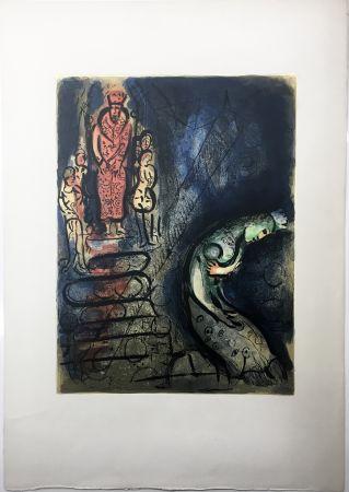 Litografía Chagall - ASSUÉRUS CHASSE VASTHI (Dessins pour la Bible. 1960)