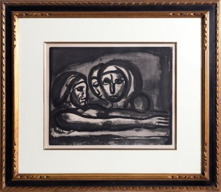 Aguatinta Rouault - Au Presser Le Raisin Fut Foule' (In the Winepress the Grapes were Crushed ) from the Misere Series, Plate 48