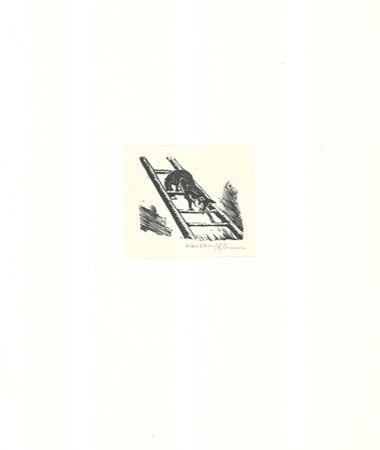 Grabado En Madera Klemm - Auf der Leiter
