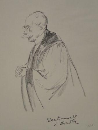 Litografía Orlik - Aus dem Reigen-Process 1921