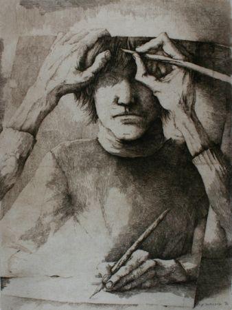 Grabado Desmazières - Autoportrait