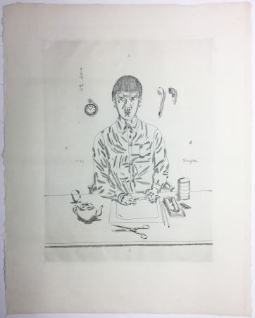 Grabado Foujita - Autoportrait à la table de travail. 11:05 (1923)