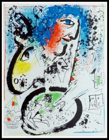 Litografía Chagall - AUTOPORTRAIT DE MARC CHAGALL
