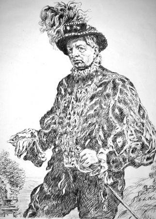 Litografía De Chirico - Autoritratto in costume