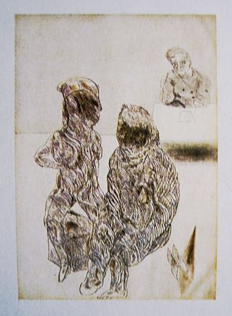 Aguafuerte Y Aguatinta Cuevas - Autorretrato con pareja