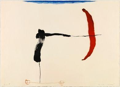 Grabado Riera I Aragó - Avión negro y rojo en ángulo