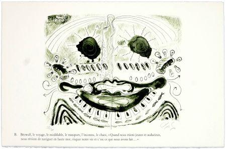 Litografía Nørgaard - B. Béowulf, le voyage, le modifiable, le transport, l'inconnu, le chaos,