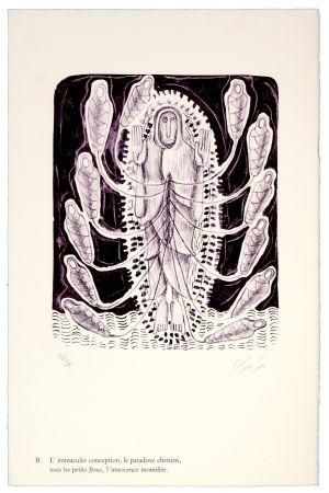 Litografía Nørgaard - B. L'immaculée conception, la paradoxe chrétien, tous les petits Jésus, l'innocence momifiée