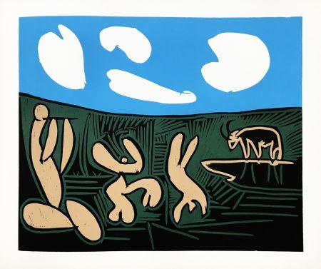 Linograbado Picasso (After) - Bacchanale au taureau