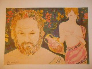 Litografía Bonnefoit - Bacchus et Aphrodite