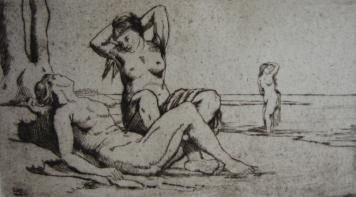 Grabado Wilm - Badende Frauen / Bathing Women