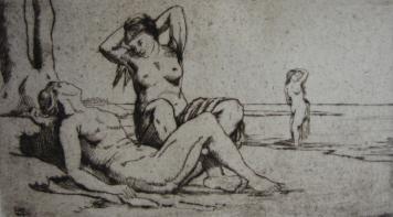 Grabado Wilm - Badende Frauen / Bathing Women