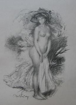 Litografía Faivre - Baigneuse