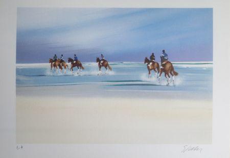 Litografía Spahn - Balade sur la plage