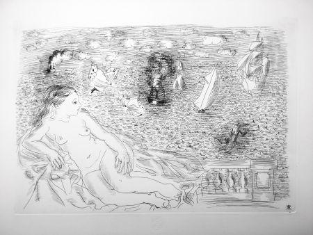 Aguafuerte Dufy - BALCON SUR LA MER (Baigneuse aux Papillons). 1925
