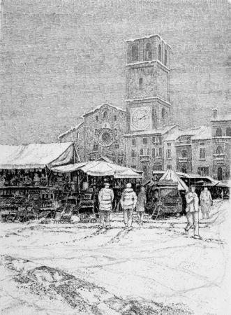 Aguafuerte Cotugno  - Bancarelle al mercato a Lodi