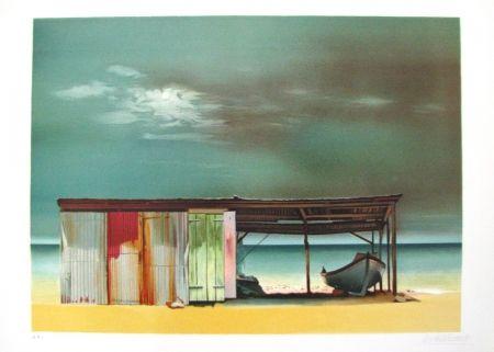 Litografía Battut - Baraque sur la plage