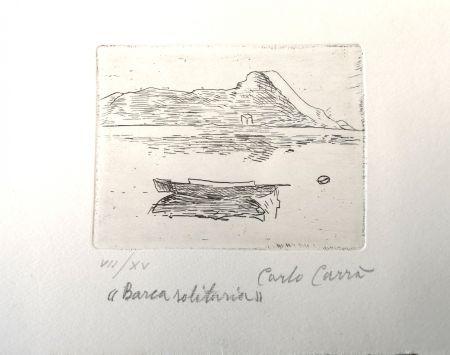 Aguafuerte Carra - Barca solitaria