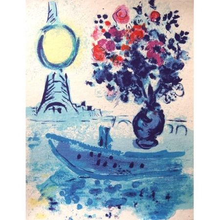 Litografía Chagall - Bateau Mouche au bouquet