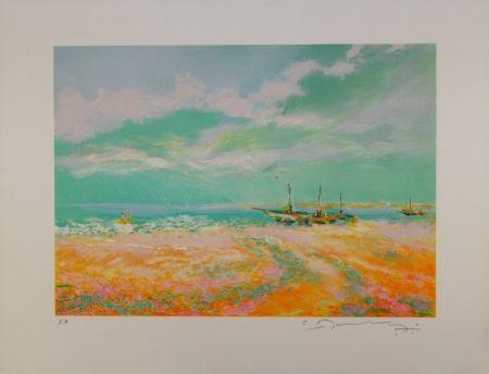 Litografía Manoukian - Bateaux à voile / Sailboats