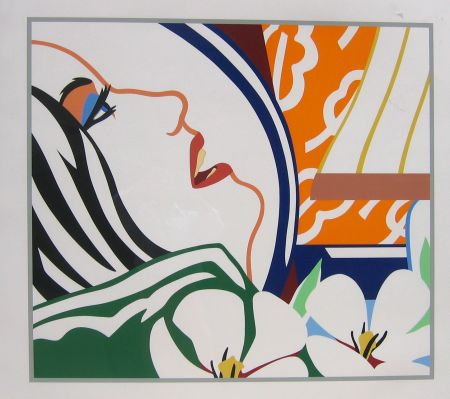 Serigrafía Wesselmann - Bedroom Face with Orange Wallpaper
