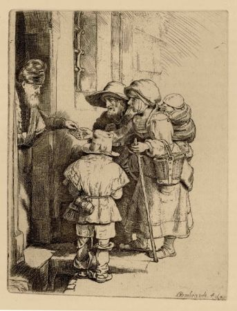 Grabado Rembrandt - Beggars Receiving Alms at the Door of a House