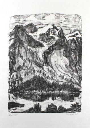 Litografía Heckel - Berghang am See
