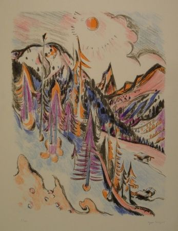 Litografía Wiegers  - Berglandschaft bei Davos mit Tinzenhorn