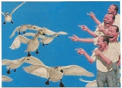 Serigrafía Minjun - Big swans
