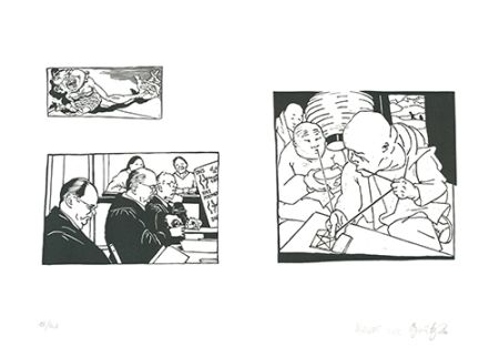 Linograbado Grützke - Bilder aus Bongs Stall