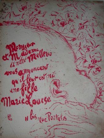 Litografía Bonnard -  Billet de naissance de Marie Louise Mellerio