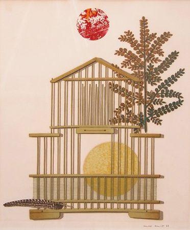 Litografía Ernst - Bird Cage, Feather, Branch and Sun