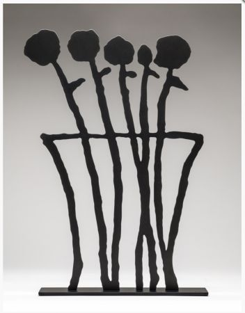 Sin Técnico Baechler - Black Flowers Sculpture