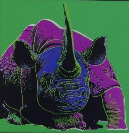 Serigrafía Warhol - Black rhinoceros