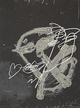 Carborundo Tapies - Blanc sur noir
