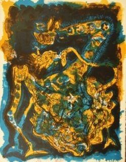 Litografía Nieto - Blaugelbe Giraffe