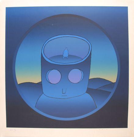 Serigrafía Folon - Blue Man - L'Homme Bleu