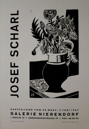Grabado En Madera Scharl - Blumen in hoher Vase