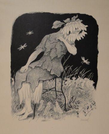 Litografía Kreidolf - Blumenmädchen auf Stuhl sitzend, nach links unten zu Heuschrecken, Ameisen und Faltern blickend.