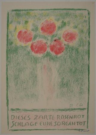 Litografía Amiet - Blumenvase mit Rosen