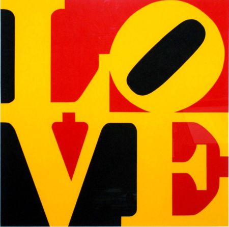 Serigrafía Indiana - Book Of Love #9 (Black, Yellow, And Red - German Love)
