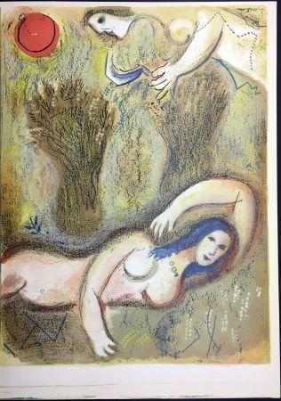 Litografía Chagall - BOOZ SE RÉVEILLE ET VOIT RUTH À SES PIEDS. 1960.