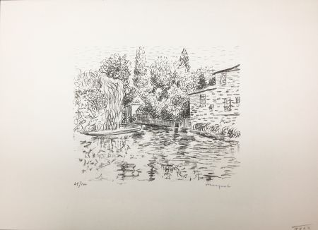 Litografía Marquet - Bord de rivière