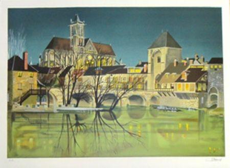 Litografía Lecoindre - Bords de riviere
