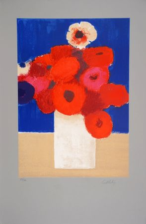 Litografía Cathelin - Bouquet d'Anémones 2 - Bouquet of Anemones 2