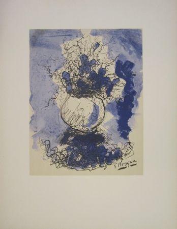 Litografía Braque - Bouquet de fleurs à l'aquarelle