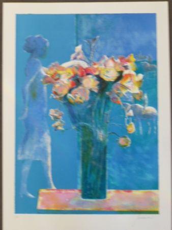 Litografía Guiramand - Bouquet de fleurs et femme de profil