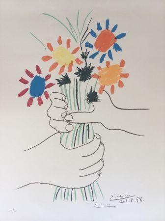 Litografía Picasso - Bouquet de Paix